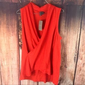 Anthropologie Pivot Draped Wrap Top - Burnt Orange